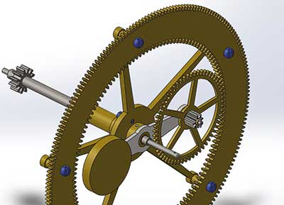 Figure 2. CAD render of the action of the Annulus wheel and Spider Arm.