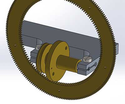 Figure 3. CAD render of the cutting frame and annulus wheel in situ.