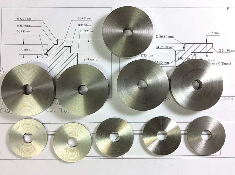 Figure 6. 316L stainless steel blanks ready for machining.